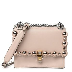Smooth Calfskin Studded Kan I Shoulder Bag Pink